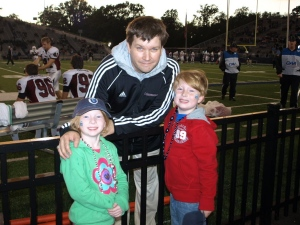 Bill with our niece and nephew, October 2011