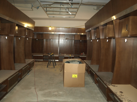 The new locker room under construction