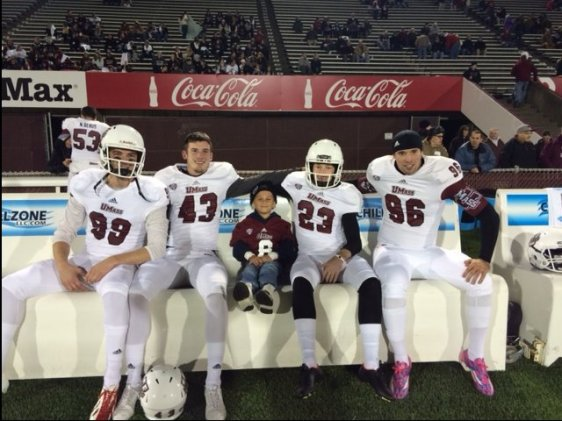 Our kickers with Jared, from left to right, Logan Laurent, Matt Wylie, Blake Lucas and Brian McDonald