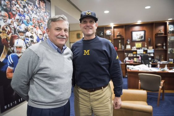 Coach Brown and Jim Harbaugh